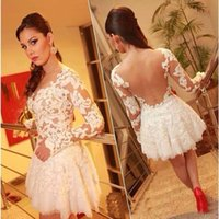 2015 Short Scoop Cocktail Dresses with Poet Long Sleeve Lace...