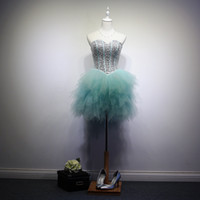 Beaded Crystal Tulle Prom Dress Short 2016 Ball Gown Sweethe...