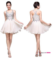 New Arrival Sexy Blush Homecoming Vestidos Halter Sparkly Beaded Crystals Backless Short Prom Cocktail Party Vestidos BZP0757