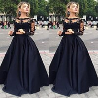 Fashion Trend 2016 Two Pieces Prom Dress Black Long Sleeve S...