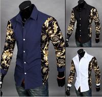 3 cores M-2XL Top Marcas Homens Camisa coreano elegante impressa homens de patchwork de algodão de manga longa homem camisas slim novo chegar !! super