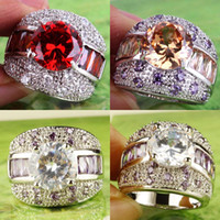Arabic Luxury Cluster Rings Round Cut Red Garnet Champagne W...