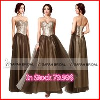 Sweetheart Sequins Prom Dresses Brown Corset and Tulle Cryst...