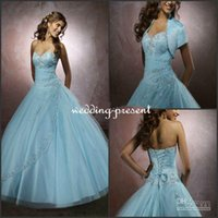 2015 Christmas Quinceanera Dresses Light Blue Ball Gown Lace...