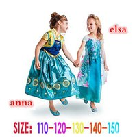 Frozen Fever Girl Elsa&Anna Blue dress Anna Dresses Kids Sum...
