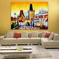 Современная мастихином живопись Европейские города Очаровательная Архитектура Искусство Картина напечатаны на холсте для домашнего офиса Декор стены