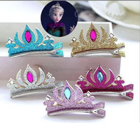 Girls Frozen Elsa Anna Crown Barrettes Kids Baby Princess ha...