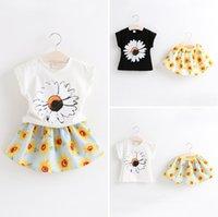 2015 New Girls Summer Clothing Sets Short Sleeved Sunflower ...