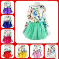 baby girl kids long sleeve vintage outfits flower floral tut...