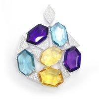 925 pendentif en argent sterling pendentif en cristal blanc CZ avec des bijoux pour hommes Rodium charmes pour le parti SET82027PW