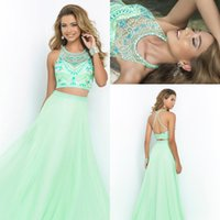 2015 Two Piece Prom Dresses Sheer Halter Strap Backless Mint...