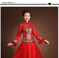 Winter Warm Lace Chinese Traditional Cheongsam for women Wed...