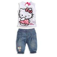 Girls Hello Kitty cartoon 2 pcs suits 2015 new sleeveless T-...