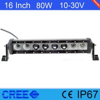"15"" Inch 80W Single Row LED Light Bar For Wrangler TJ C..."