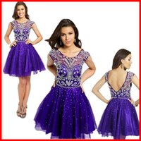 2015 Summer Homecoming Dresses Sheer Purple Tulle Short For ...
