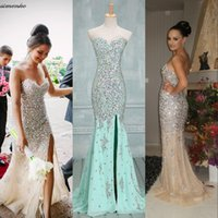 2016 Gorgeous Strapless Crystal Mermaid Prom Dresses Sexy Sw...
