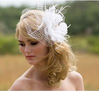 New Ravishing Birdcage Veil Feather Fascinator, Wedding Veil...
