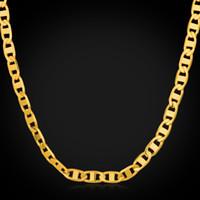 U7 Figaro Chain Bracelet Collier Bijoux pour hommes 18K plaqué or réel cadeau Accessoires de Mode Hommes Colliers Bracelets Party