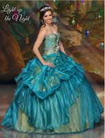 Elegant 2015 Teal Gold Sweetheart Beaded bodice With Ball Go...