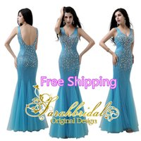 2015 Shimmering Mermaid Prom Dresses Sexy V- Neck Backless Fo...