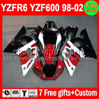 7gifts For YAMAHA Red white YZF R6 98- 02 YZF600 98 99 00 01 ...