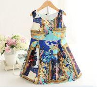 2015 Summer Retro Palace Style Girls Vest Dresses Spot Sleev...