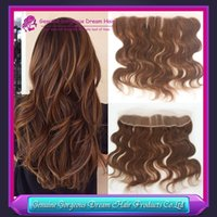 #4 Brown color virgin Indian Body Wave Frontal Closure 13x2 ...