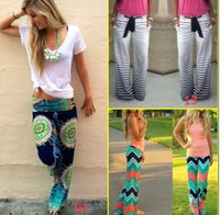 2016 Hot femmes Boho Pants ethniques Bohemian Floral Print Wid jambe pantalon ample pantalon rayé Waves Silky Bottoms F107