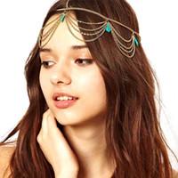 Bohemia Draping Turquoise Crown Cuff Tassel Chains Headband ...