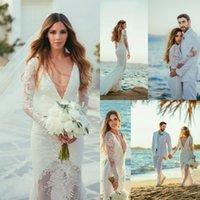 Summer Beach Backless Wedding Dresses Deep V- Neck Sheer Appl...