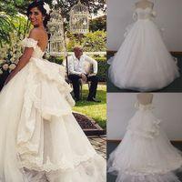 2015 бальное платье свадебные платья с плеча рукавами Съемные Off и Съемный Раффлед Поезд Опухший Тюль Свадебные платья Real DHYZ 01