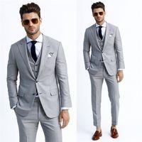 Silver Handsome Tuxedos Three Pockets Blazers Men Three Piec...