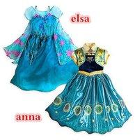 Frozen Fever Girl Elsa Blue Dress Kids Summer Gauze Clothing...