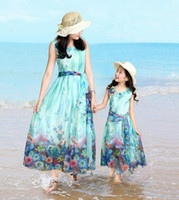 Fashion 2016 Mom and Daughter Dress with Belt Long Maxi Summ...
