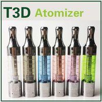 T3D Clearomizer Ecig vaporisateurs atomiseur Clone Replaceable Bobines fond de cuve pointe de goutte à goutte de métal Fit Ego-T Evod Vision Ego 2 Ecigarette Batterie