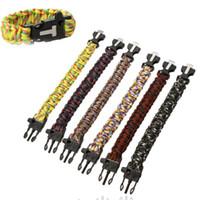 9quot; Outdoor campeggio selce Fire Starter raschietto fischiare Gear Survival Paracord bracciale corda autosoccorso Kit Y0090