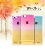 2015 nouvelles couvertures molles mattes colorées de cas de téléphone mobile de gradient de luxe de PU pour l'iPhone 4 d'Apple 4.7 fondations iphone6 libèrent l'expédition