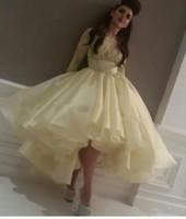 Latest Top Celebrity Dress Myriam Fares Light Yellow Evening...