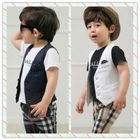 3 Pcs Set 2015 Summer Baby Boy Clothes Vest+ T- shirt+ Stars Pa...
