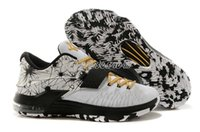 Basketball Shoes Kevin Durant KD 7 VII White Black Gold Snea...