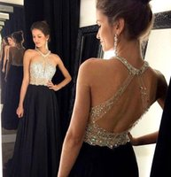 Sexy Black Halter Backless Chiffon Prom Dresses 2016 Sparkly...