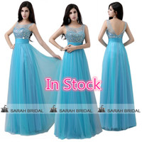 Cheap In Stock Blue Prom Dresses 2015 Free Shipping Sheer Cr...