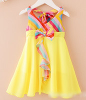 Girls Dresses Princess Girl Lace Bow Pleated Sleeveless Chif...