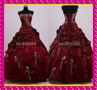 Burgundy Taffeta Corset and Tulle Prom Quinceanera Dresses 2...