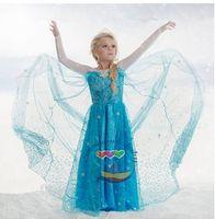 Frozen Elsa Princess kids blue long yarn Dress Gauze Dress 5...
