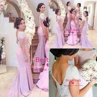 2015 Crystal Backless Mermaid Bridesmaid Dresses Long Cap Sl...