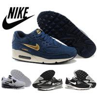 Free Shipping 2015 Nike AIR MAX 90 Men demin canvas women ru...