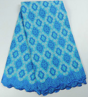Pretty blue African embroidery cotton lace fabric for party ...