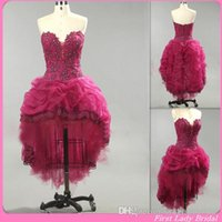 2015 Vintage Purple Homecoming Dresses High Low Appliques La...