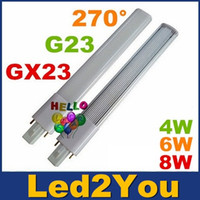 G23 GX23 LED PL Luz brillante estupenda 4W 6W 8W Led Bombillas 270 Ángulo Replac CFL Luces AC 85-265V